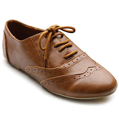 Ollio Women's Shoe Classic Lace Up Dress Low Flat Heel ...