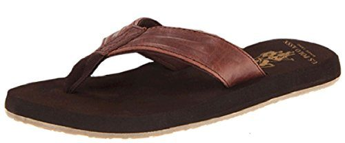 US-Polo-Assn-Mens-Premium-Brown-Leatherette-and-Plush-Water-Friendly-Sandal-Flip-Flop-Thong-0